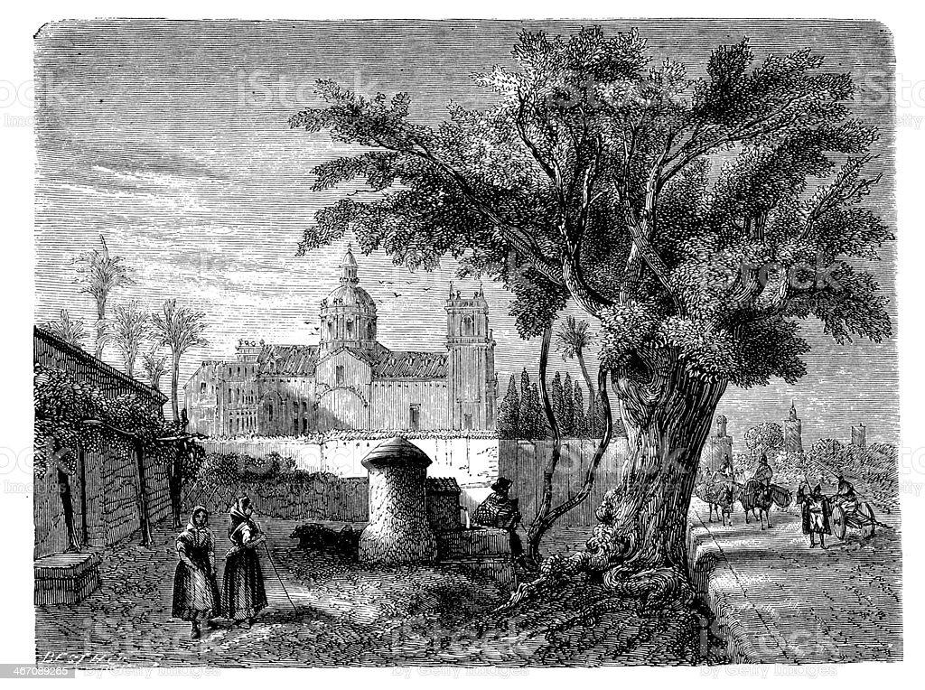 Antique illustration of convent San Miguel de los Reyes, Valencia vector art illustration