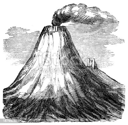 Antique illustration of Cotopaxi volcano