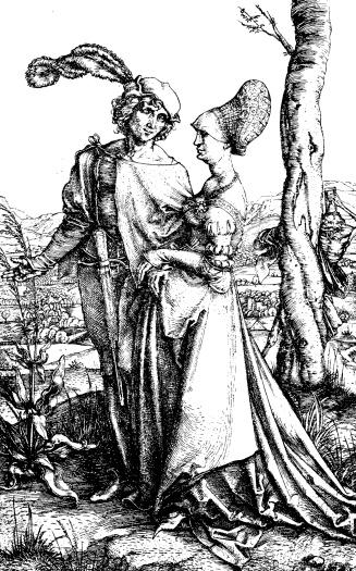 Antique illustration of couple