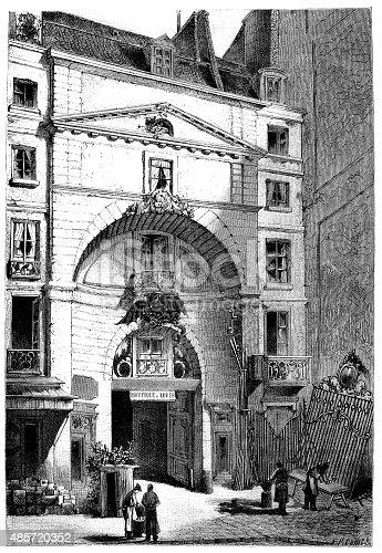 Antique illustration of Cour du Dragon, Paris