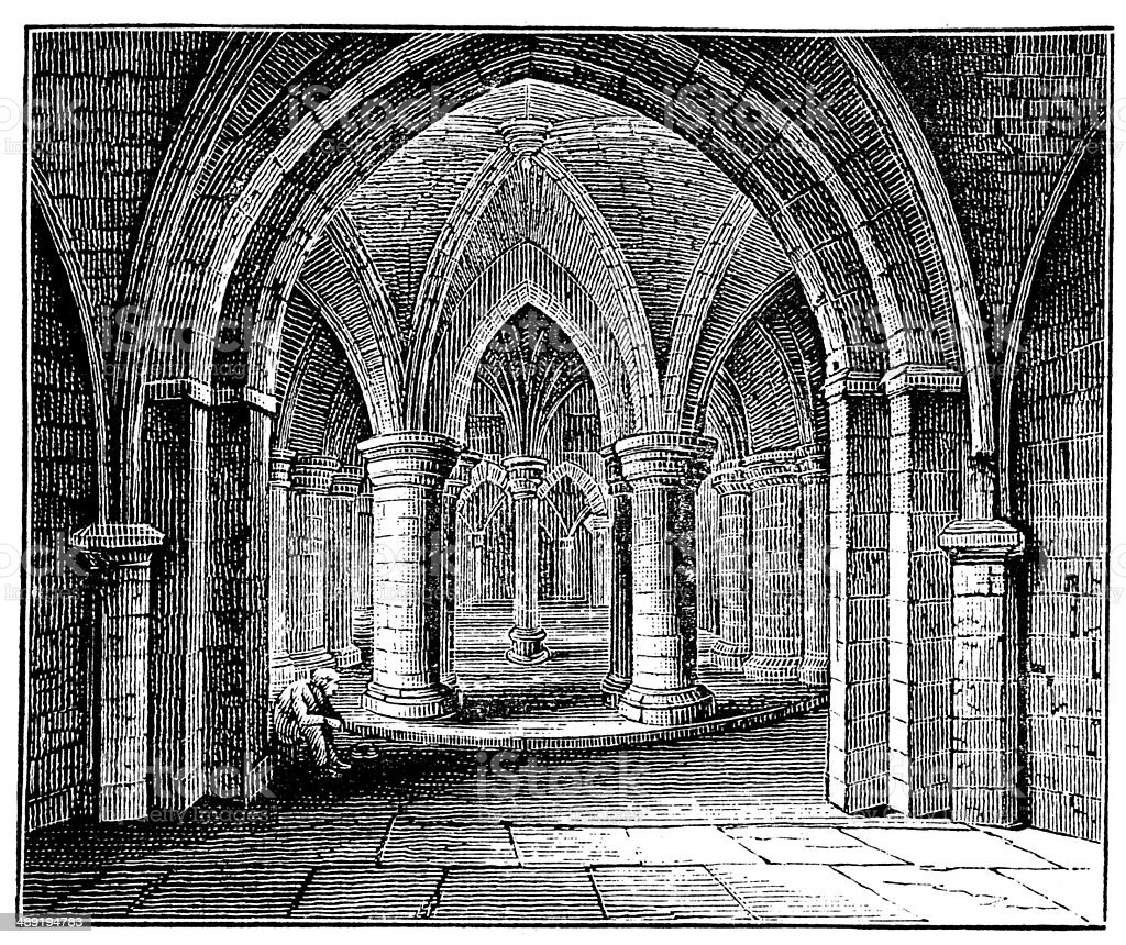 Antique illustration of Crypt, Canterbury Cathedral vector art illustration