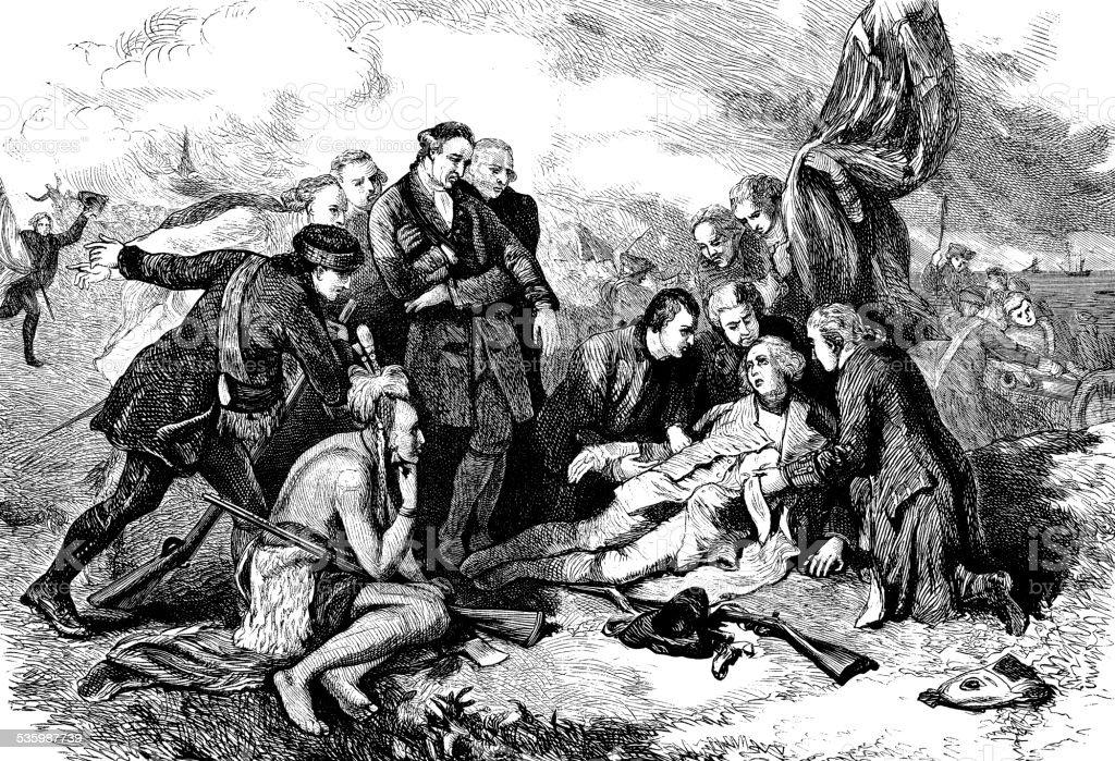 Antique illustration of death of Major General James Wolfe vector art illustration