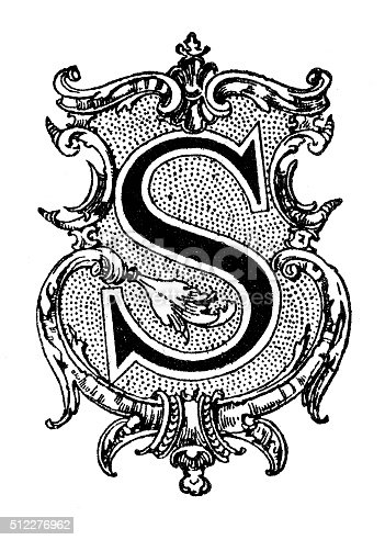 Antique illustration of decorated capital letter S, depicted within an ornate frame