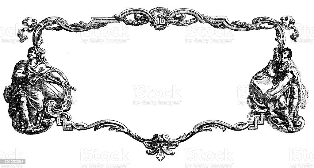 Antique illustration of decorated cartouche or frame vector art illustration