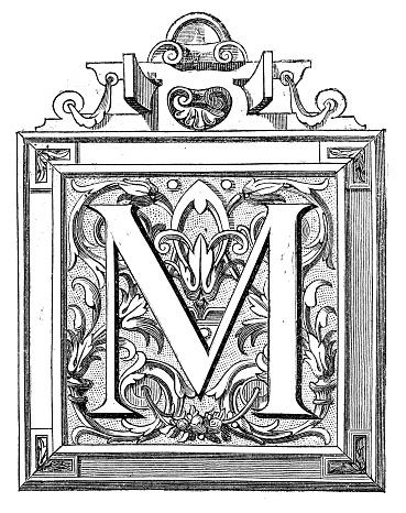 Antique illustration of decorated letter M