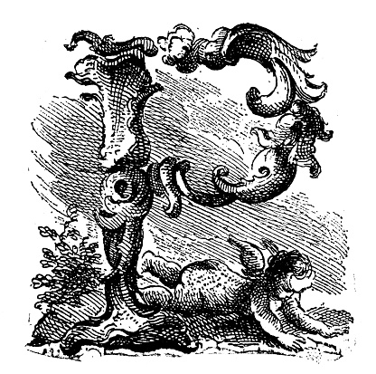 Antique illustration of decorated letter P with little angel