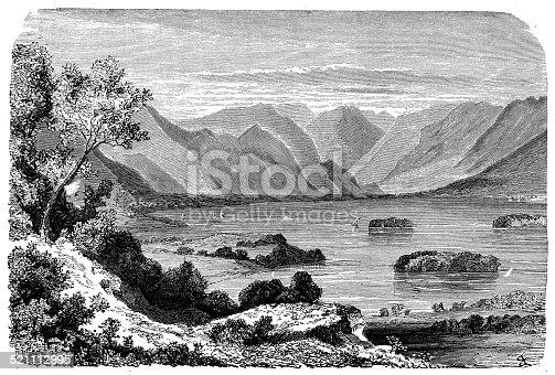 Antique illustration of Derwentwater (Lake District)