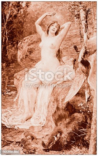 """istock Antique illustration of """"Diane au bain"""" by Ferry 500591860"""