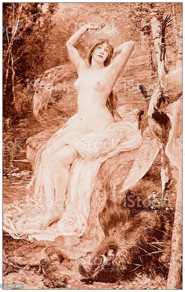 Antique illustration of 'Diane au bain' by Ferry vector art illustration