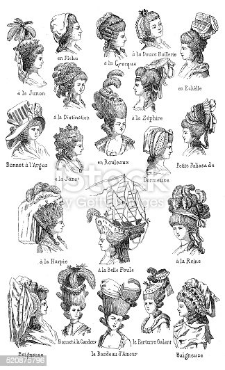 Antique illustration of different 18th century French women's hairstyles with their names, a lot of extravagant and eccentric hairdos used by the 18th century aristocratic ladies (collection taken from 18th century fashion magazine)