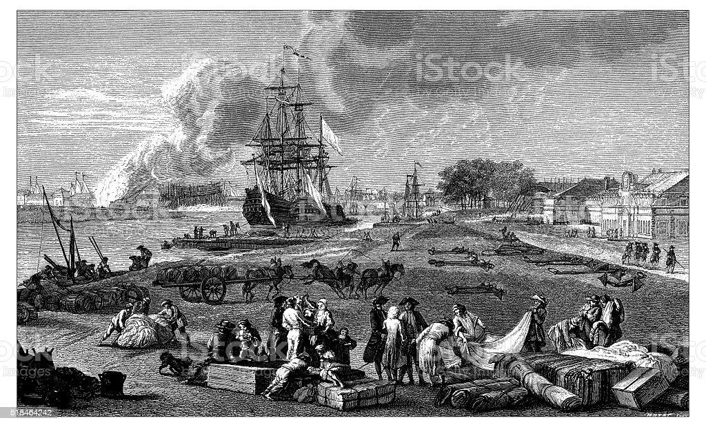Antique illustration of dock vector art illustration