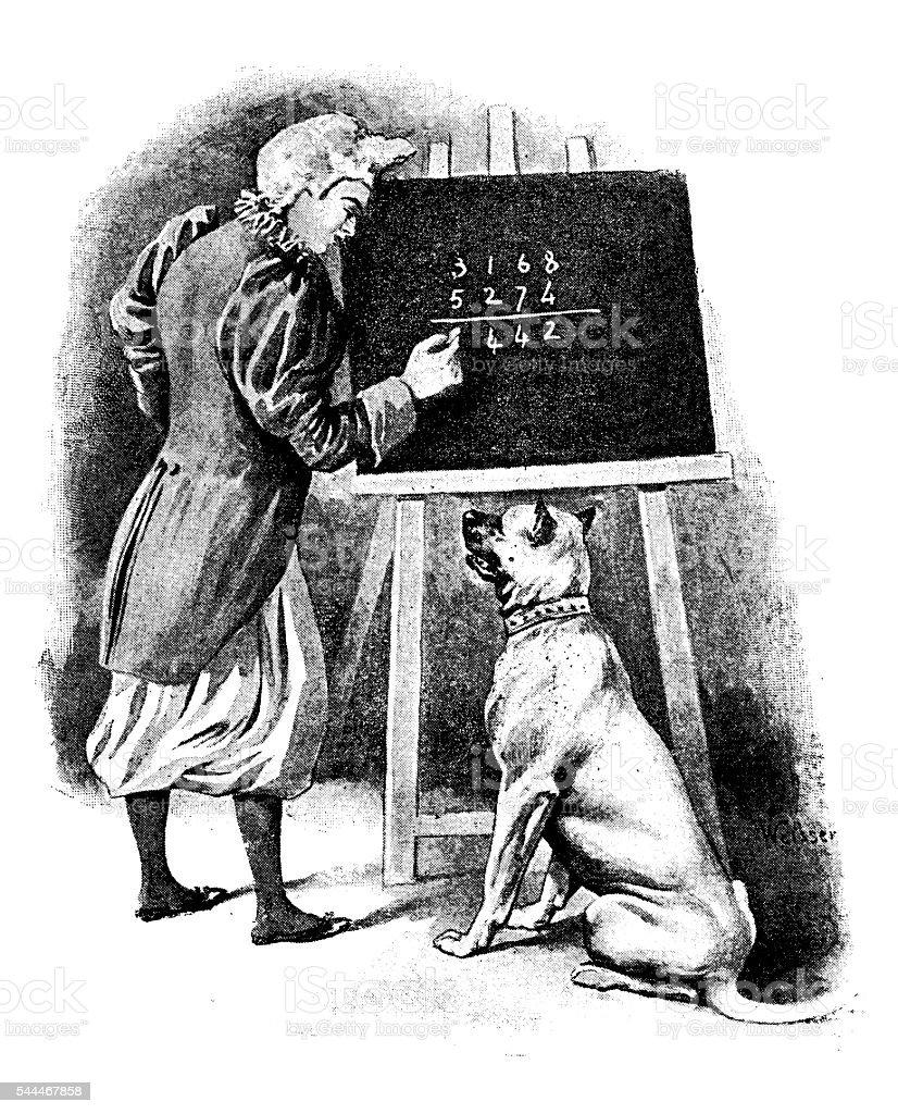 Ancienne illustration de chien apprend math - Illustration de Cours de mathématiques libre de droits