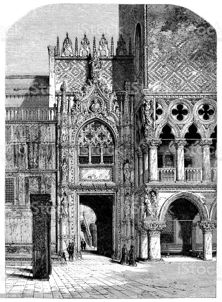Antique illustration of doge's palace in Venice royalty-free stock vector art