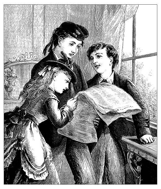 stockillustraties, clipart, cartoons en iconen met antique illustration of domestic scene - woman home magazine