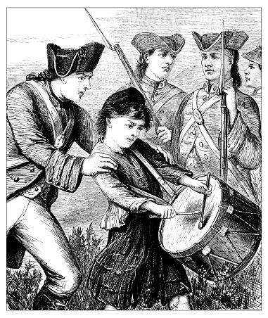 Antique illustration of drummer