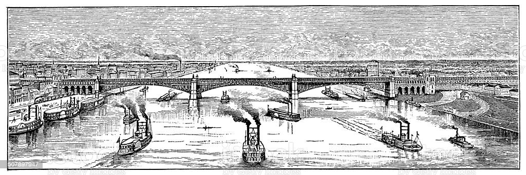 Antique illustration of Eads Bridge on Mississippi, St Louis vector art illustration