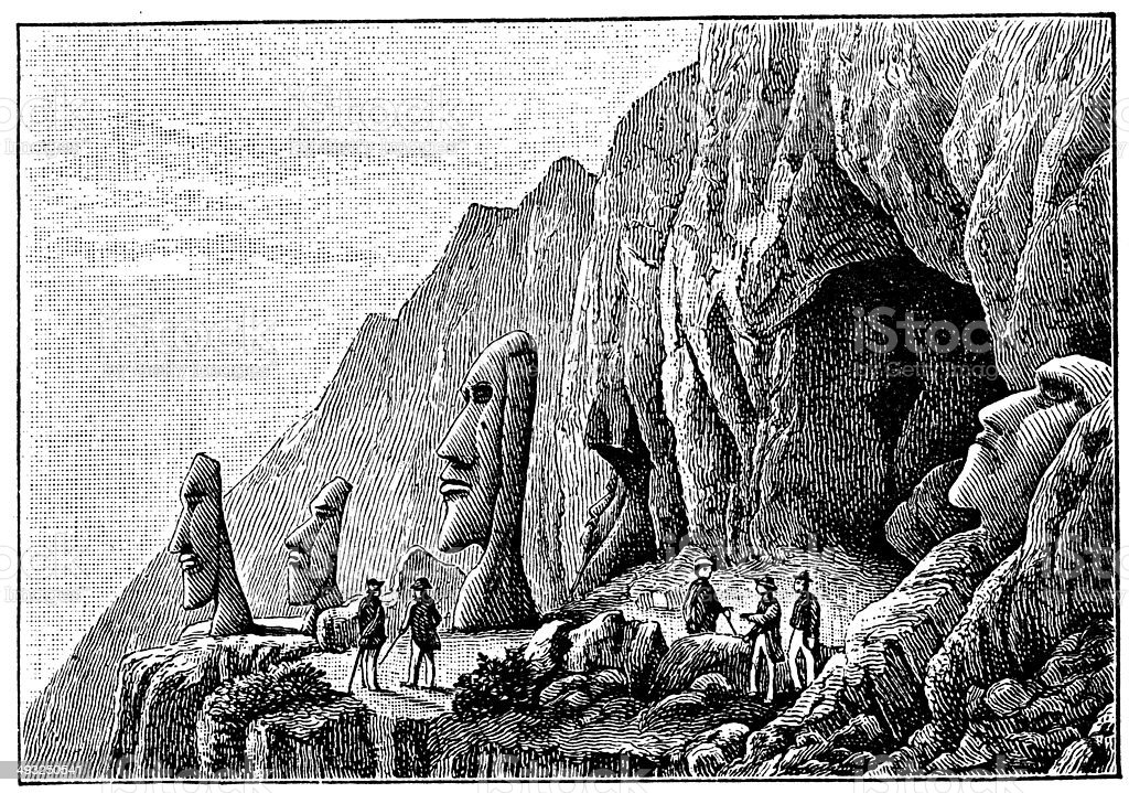 Antique illustration of Easter Island vector art illustration
