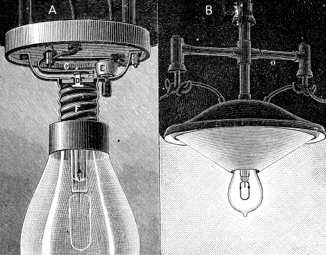 Antique illustration of Edison lighting bulb