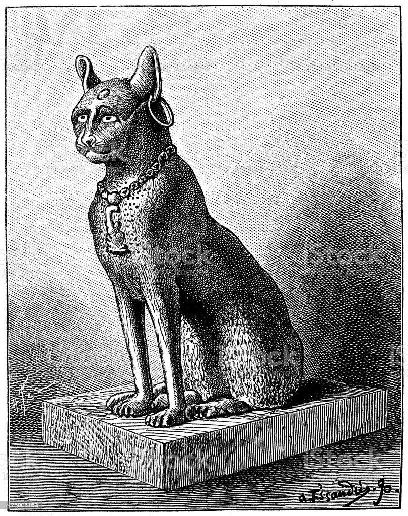 Antikes Illustration Ägyptische Katze Bronzedenkmal Stock Vektor Art ...