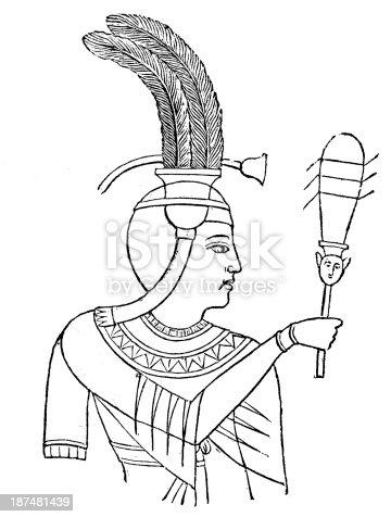 Antyczne Ilustracja Przedstawiająca Egipska Fryzura Stockowe