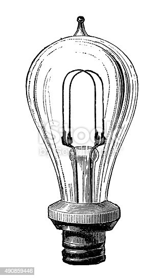 istock Antique illustration of electric lamp systems and bulbs 490859446