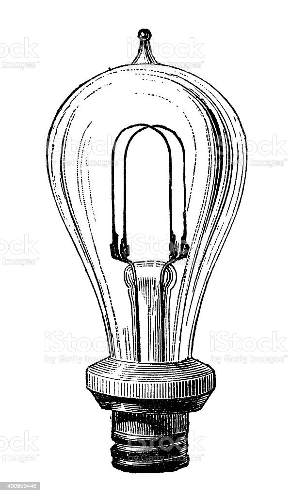 Antique illustration of electric lamp systems and bulbs vector art illustration
