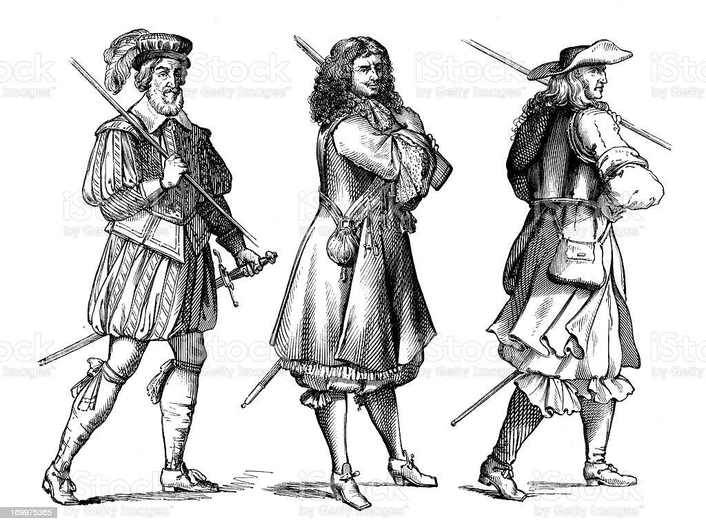 Antique illustration of elegant 1600 man royalty-free stock vector art