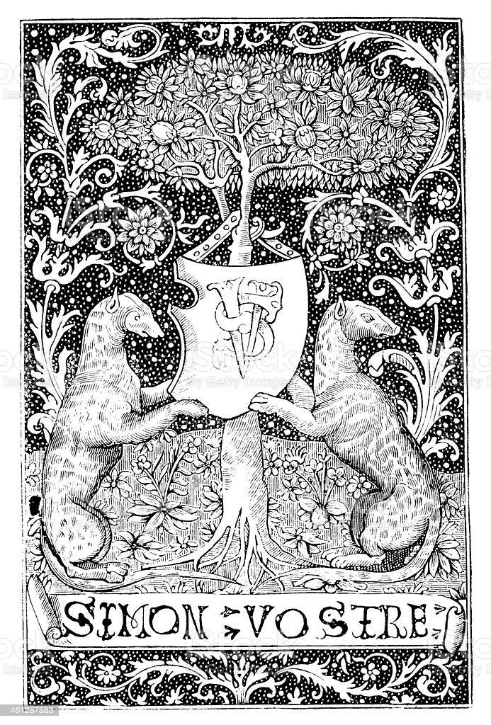 Antique illustration of emblem royalty-free stock vector art
