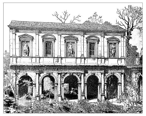 Antique illustration of facade of lodge and Odeo Cornaro (Paduaa) Antique illustration of facade of lodge and Odeo Cornaro/Loggia Cornaro (Padua, Padova, Italy), a complex of Renaissance buildings (16th century). This classical style front was a scenic, a background, for theatre performances. villa stock illustrations