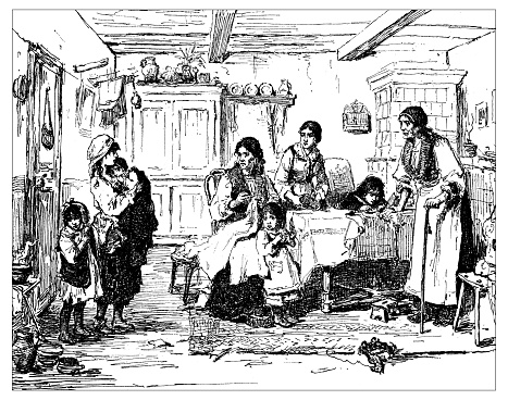 Antique illustration of family with many children