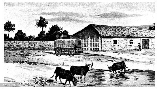 Antique illustration of farm