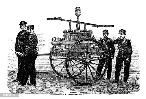 Antique illustration of firefighter water pump