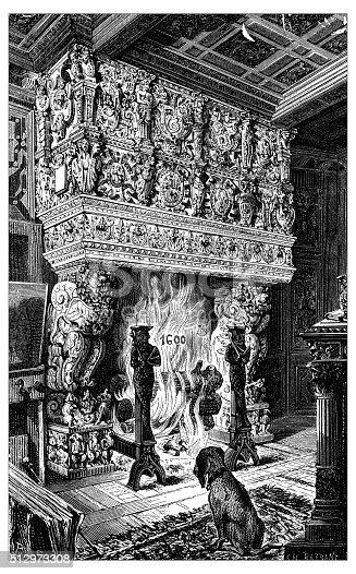 istock Antique illustration of fireplace, Château de Terre Neuve (Fontenay-le-Comte, France) 512973308