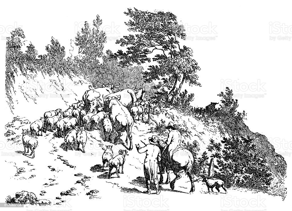 Antique illustration of flock climbing uphill vector art illustration