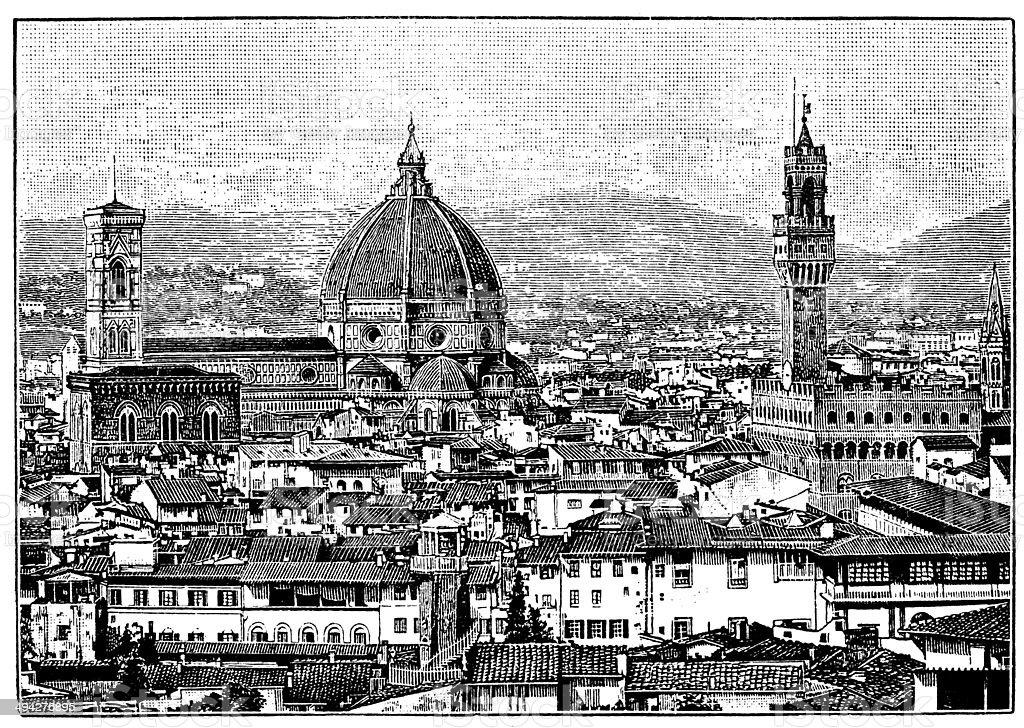 Antique illustration of Florence cityscape vector art illustration