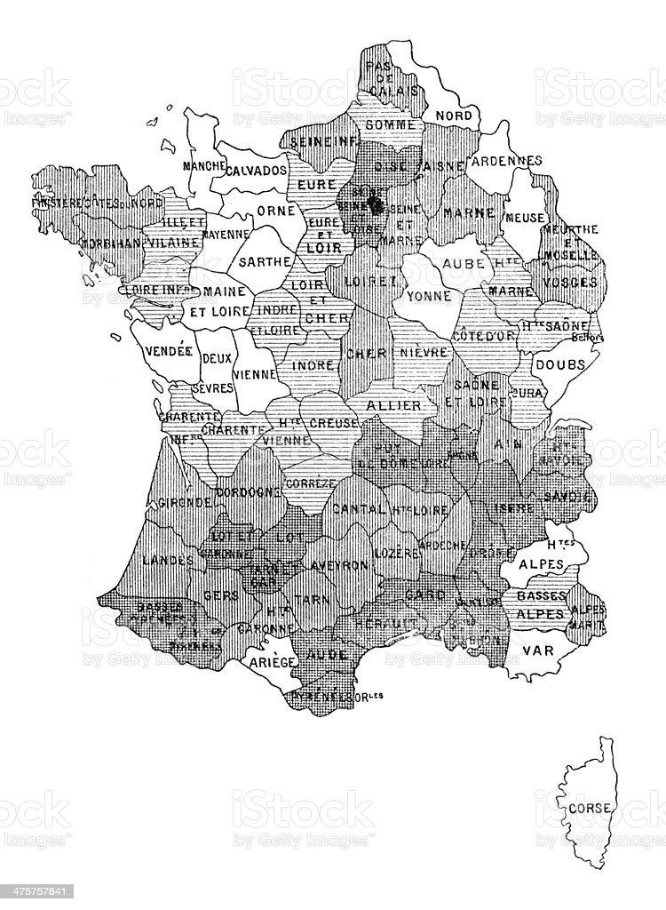 Cartina Della Francia In Bianco E Nero.Antique Illustration Of France Department Region Map Stock