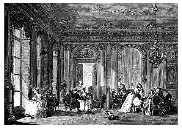 stockillustraties, clipart, cartoons en iconen met antique illustration of french 18th century neoclassical living room - 18e eeuwse stijl