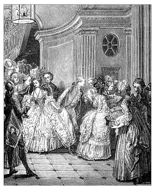 Antique illustration of French 18th century people leaving the theatre vector art illustration