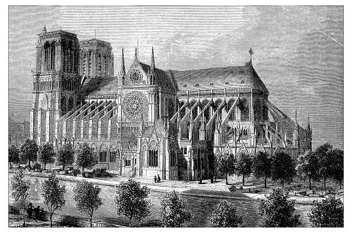 Antique illustration of French Cathedrals: Notre-Dame de Paris