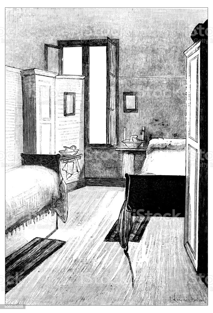 Antique illustration of French civilian and military schools: Normal high school student room vector art illustration