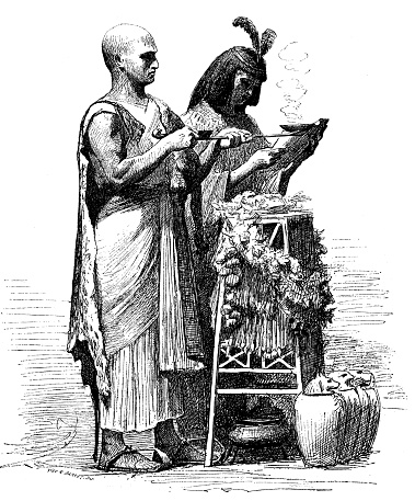 Antique illustration of funeral of an ancient Egyptian mummy