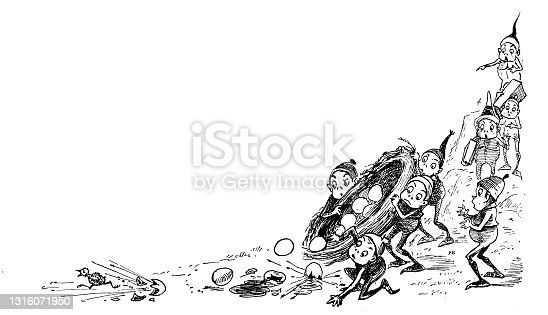 """istock Antique illustration of funny cartoon comic characters (""""The Brownies"""", 1887) 1316071950"""
