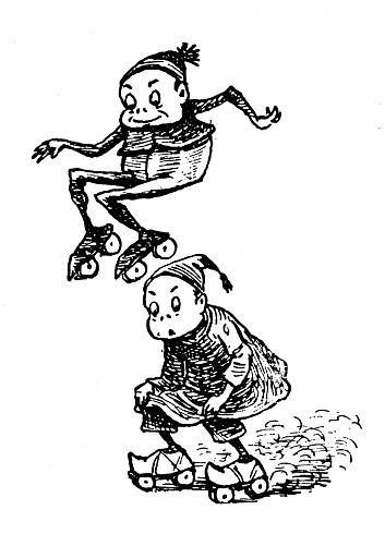 """Antique illustration of funny cartoon comic characters (""""The Brownies"""", 1887)"""