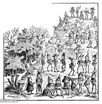 Antique illustration of funny cartoon comic characters (