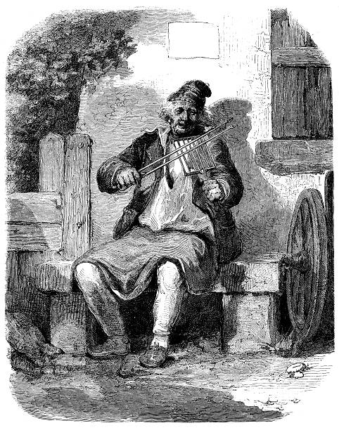 antique illustration of funny violin player - old man funny pictures stock illustrations, clip art, cartoons, & icons