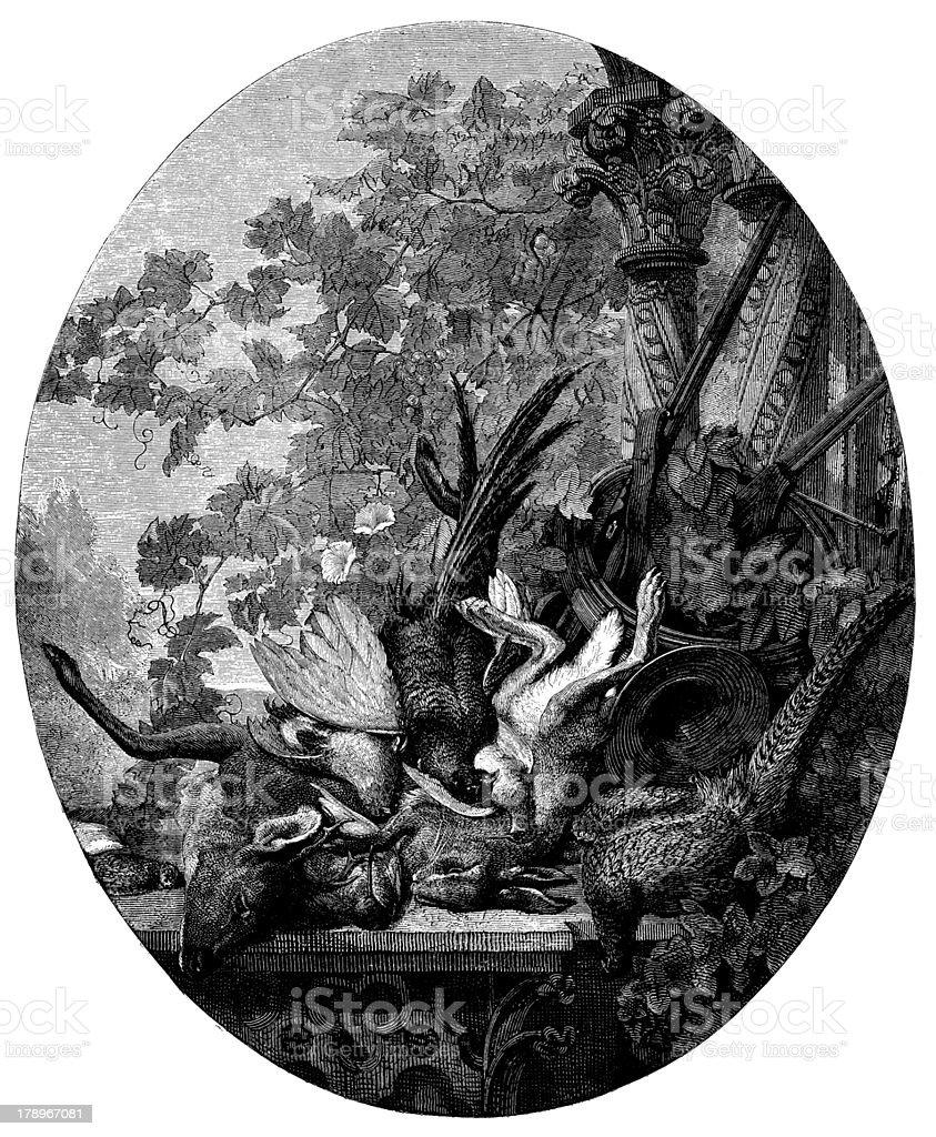 Antique illustration of game meat still life vector art illustration