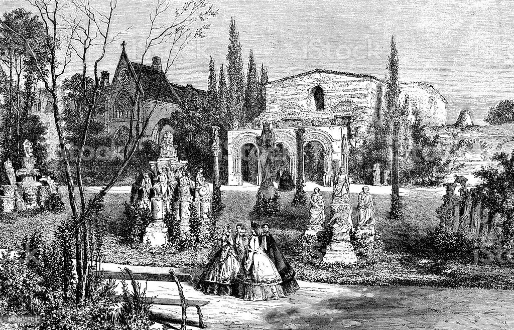 Antique illustration of garden in Paris royalty-free antique illustration of garden in paris stock vector art & more images of 19th century style