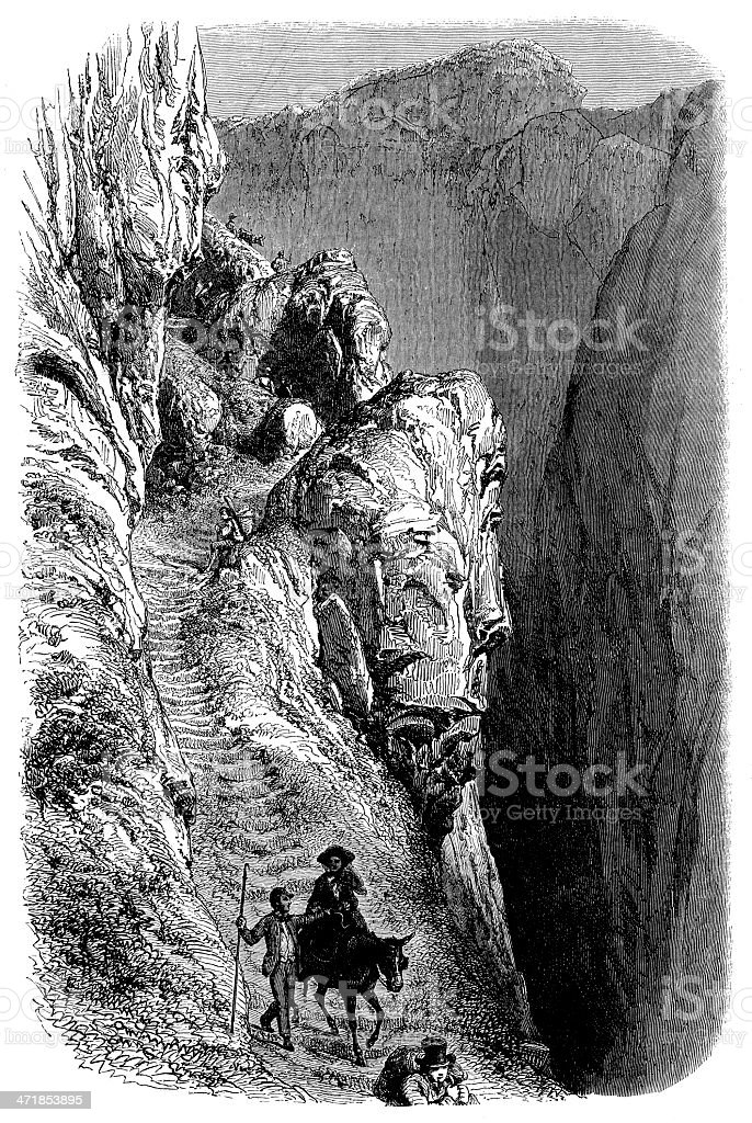 Antique illustration of Gemmi valley pass royalty-free stock vector art