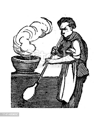 Antique illustration of glass blower