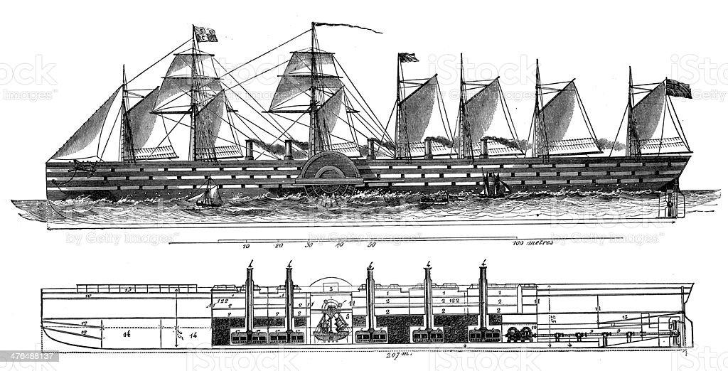 Antique illustration of Grand-Oriental ship royalty-free stock vector art